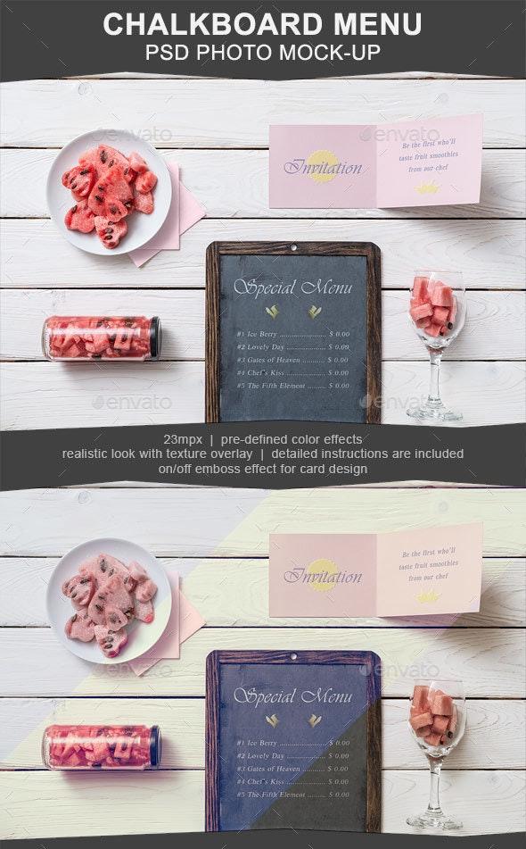 Chalkboard Menu PSD Mockup - Miscellaneous Product Mock-Ups