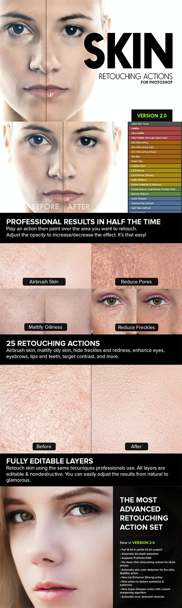 Skin - 25 Retouching Actions - Photo Effects Actions
