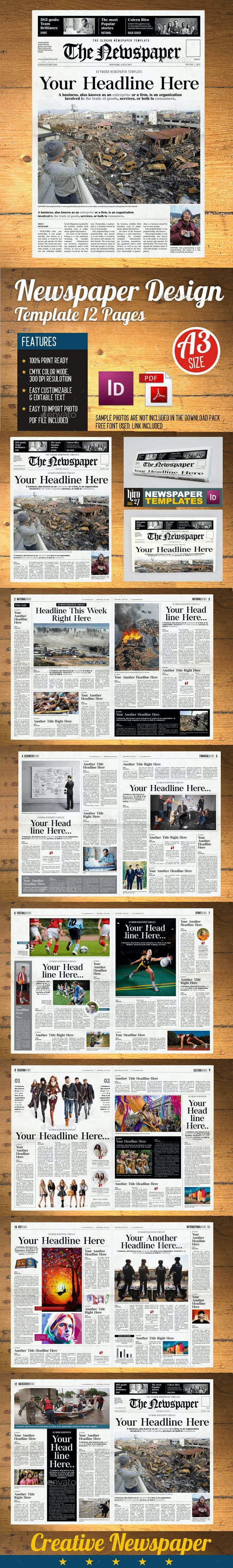 NEWSPAPER (12 PAGE) TEMPLATE (VOL2) - Newsletters Print Templates