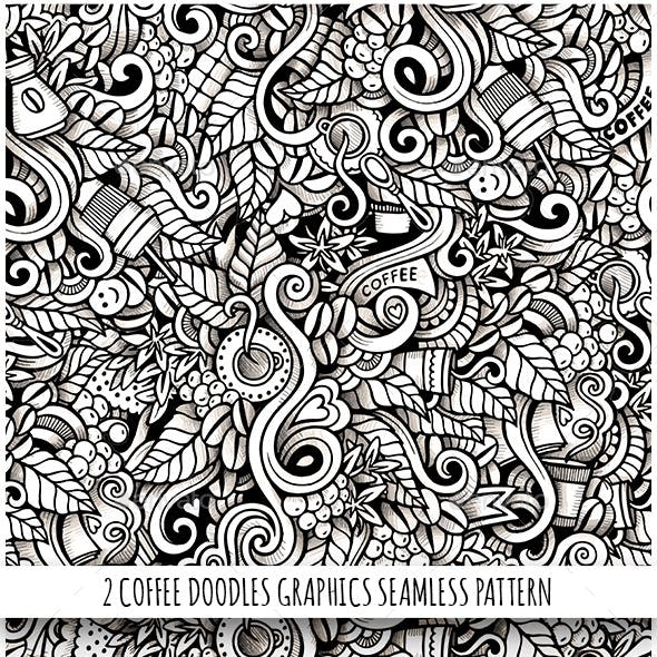 2 Coffee Doodles Graphics Seamless Patterns