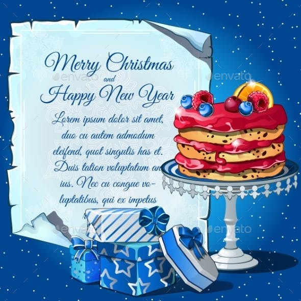 Christmas Cake, Gift Boxes And Card For Text