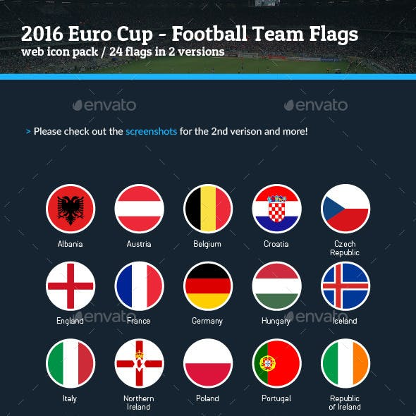 2016 Euro Cup - Football Soccer Team Flags