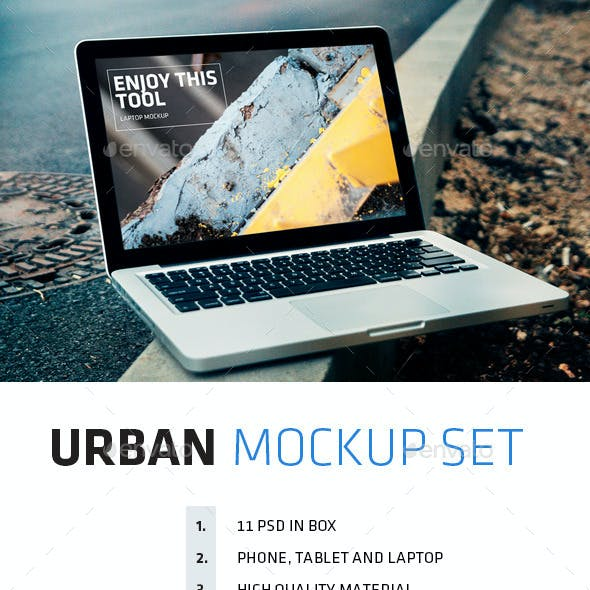 Urban mockup set iPhone 5s + iPad Mini + MacBook