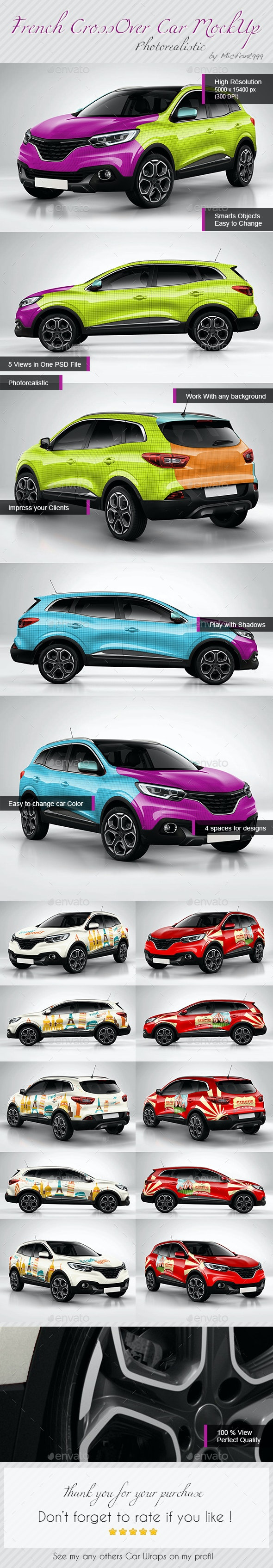 Photorealistic French Crossover car Wrap Mock-up - Vehicle Wraps Print