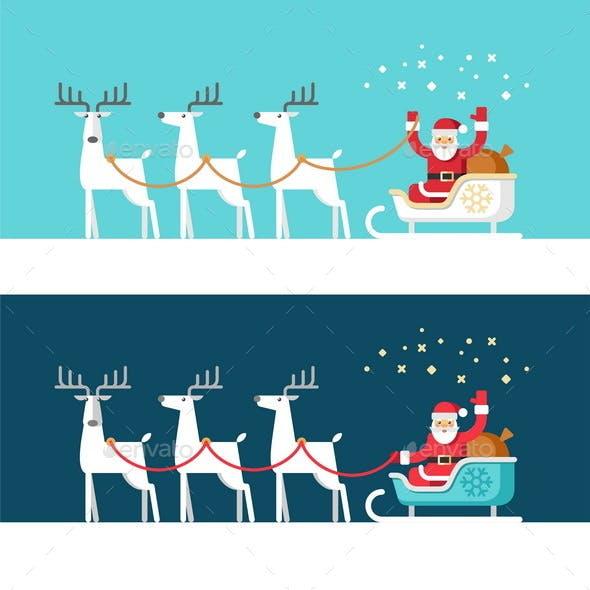 Santa Claus on Sleigh and his Reindeers