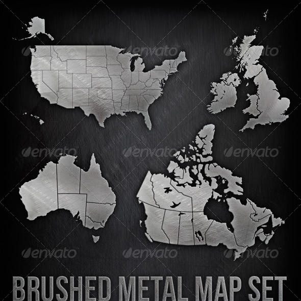 Brushed Metal Map Set - USA, Canada, UK, Australia