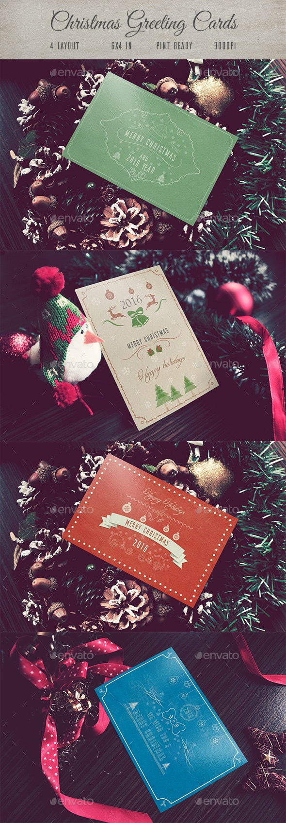 4 Christmas Greeting Cards - Holiday Greeting Cards