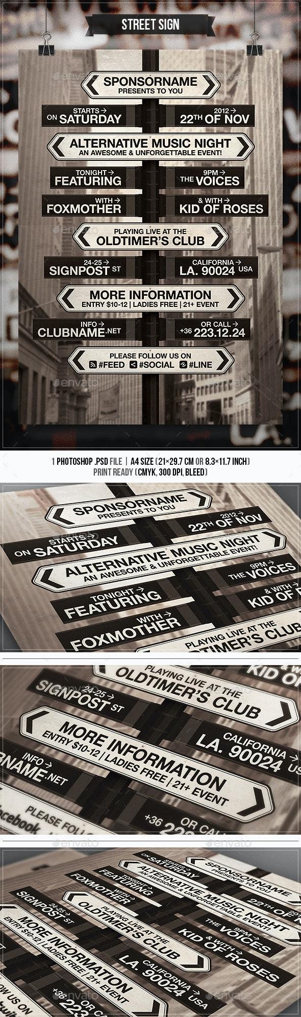 Street Sign - Flyer & Poster - Concerts Events