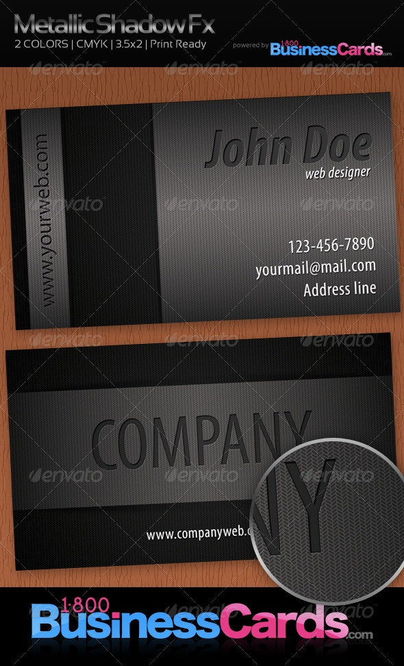 Metallic Shadow Fx Business Card  - Creative Business Cards