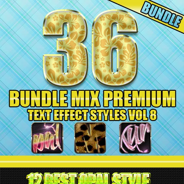 36 Bundle Mix Premium Text Effect Styles Vol 8