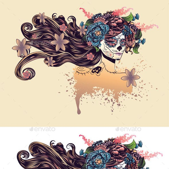 Sugar Skull Girl with Long Hair in Flower Crown