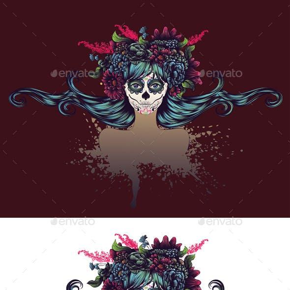 Sugar Skull Girl with Blue Hair in Flower Crown