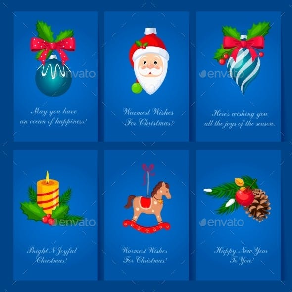Holiday Cards With Christmas Balls And Toys