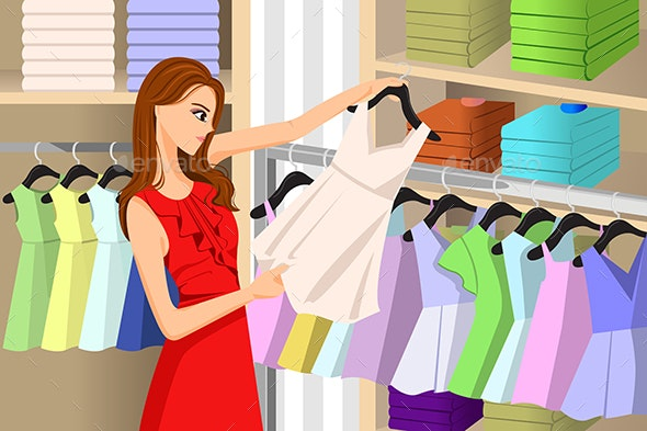 Girl Buying Clothes at a Store - Commercial / Shopping Conceptual
