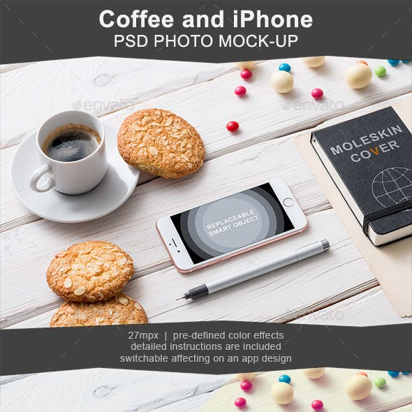 Mockup of Iphone on Cafe Table