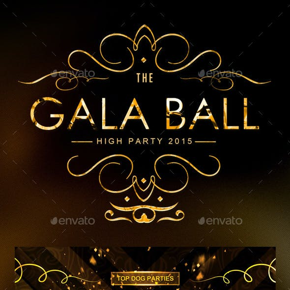 Golden Gala Deluxe Party Flyers & Tickets Bundle