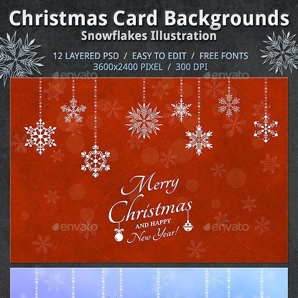 Christmas Card Backgrounds - Snowflakes