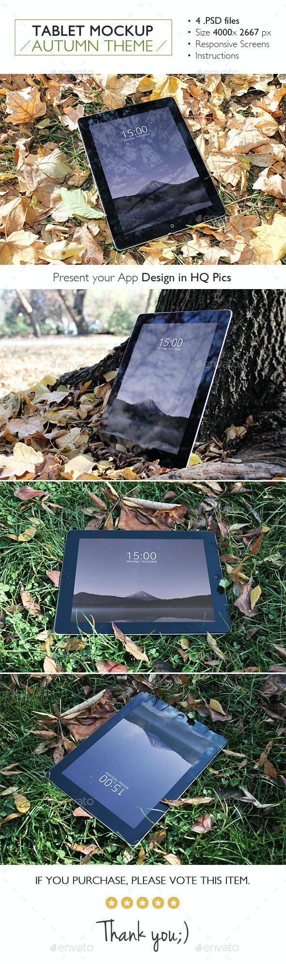 Tablet Mockup Autumn Theme - Product Mock-Ups Graphics