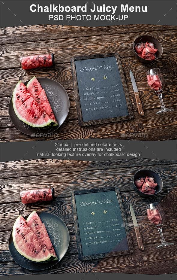 Chalkboard Menu Mockup with Juicy Watermelon - Miscellaneous Print