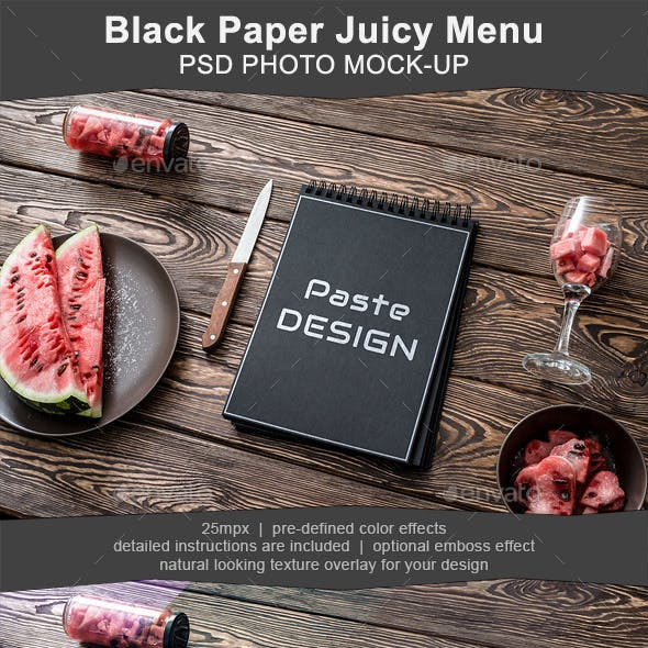 Black Cafe Menu Mockup