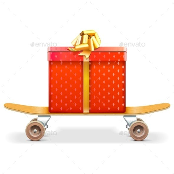 Skateboard with Gift