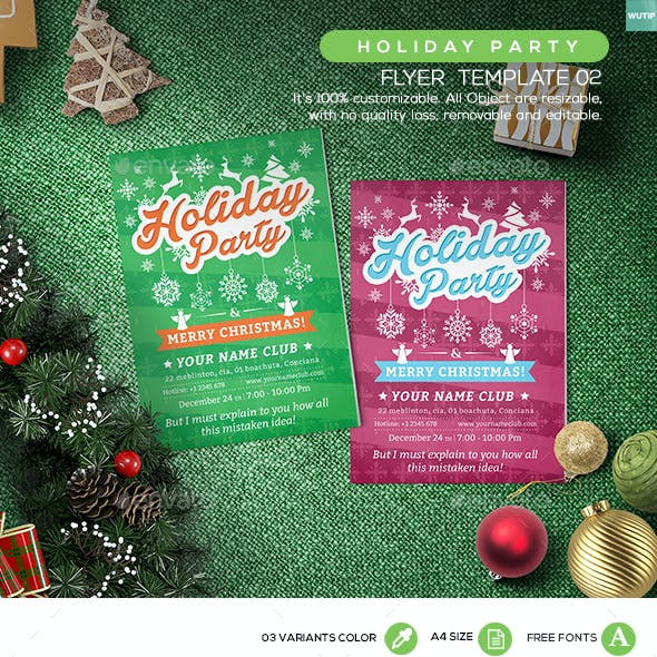 Holiday Party Flyer Template 02