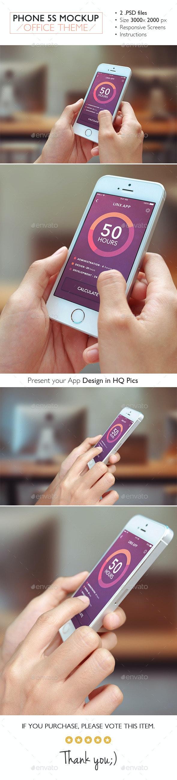 Phone 5s Mockup Office Theme - Product Mock-Ups Graphics