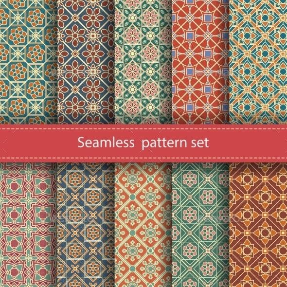 Vector Set Of 10 Seamless Mosaic Patterns. Arabic