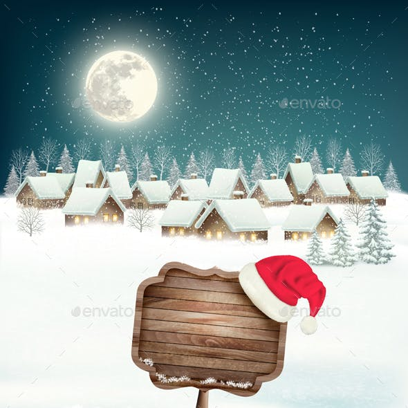Winter Village Night Background with Wooden Sign