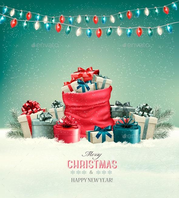 Holiday Christmas Background with a Sack  - Christmas Seasons/Holidays
