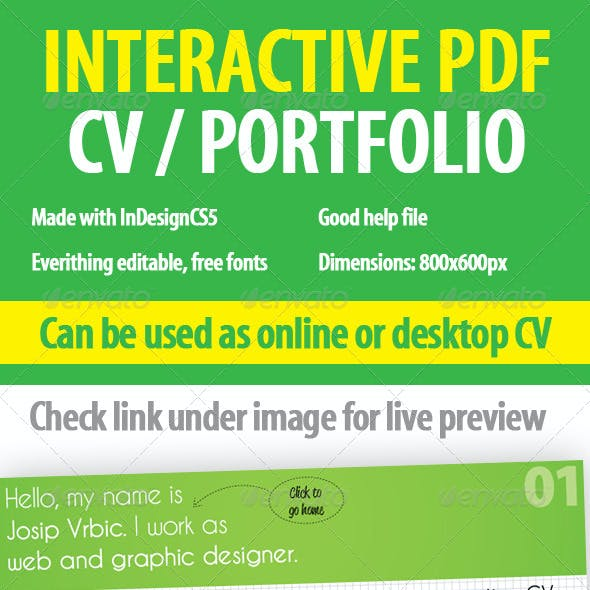 Interactive CV / Portfolio PDF InDesign Template