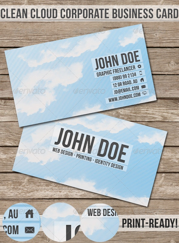 Clean Cloud Corporate Business Card - Creative Business Cards