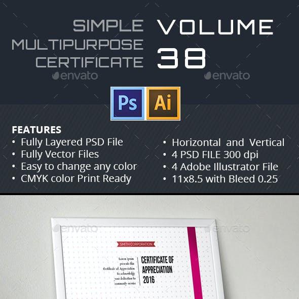Easy Simple Multipurpose Certificate GD038