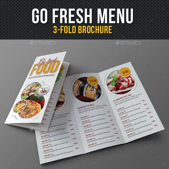 Go Fresh Restaurant Menu 3-Fold Brochure