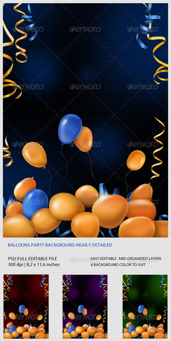 Balloon Party Background - Backgrounds Graphics