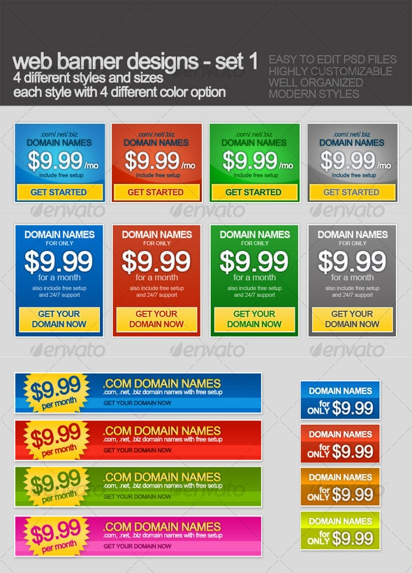 Web banners with 16 styles and colors - Miscellaneous Web Elements
