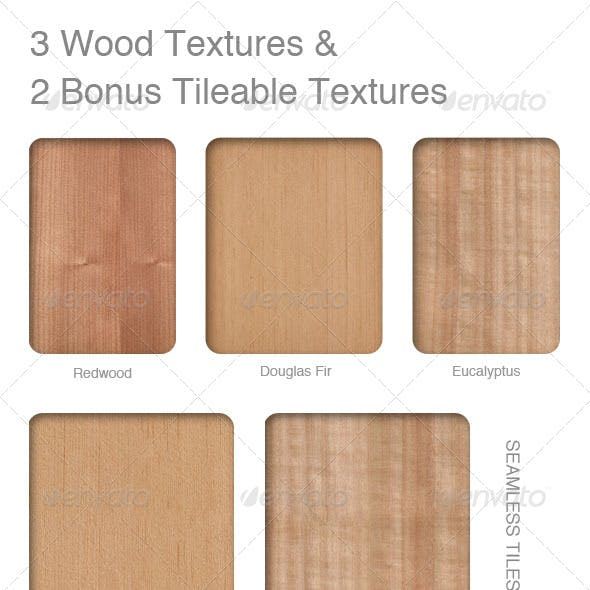 3 Wood Textures and 2 Bonus Tileable textures