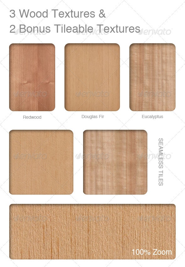 3 Wood Textures and 2 Bonus Tileable textures - Wood Textures