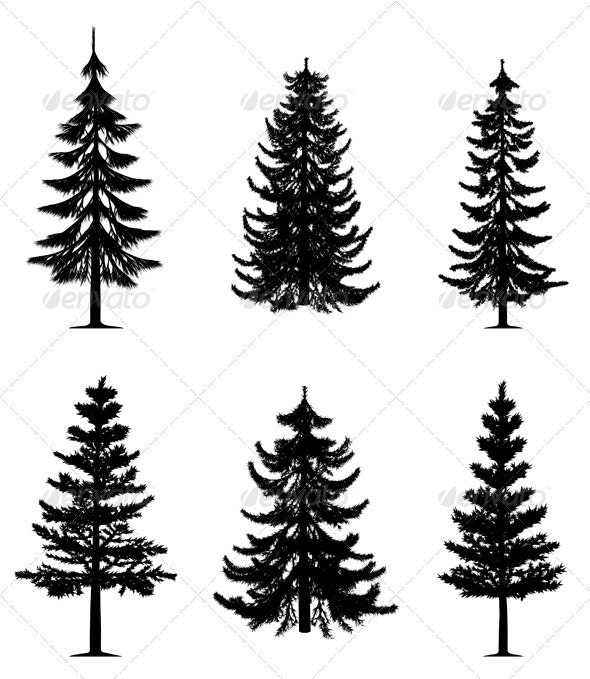 Pine trees collection - Characters Vectors