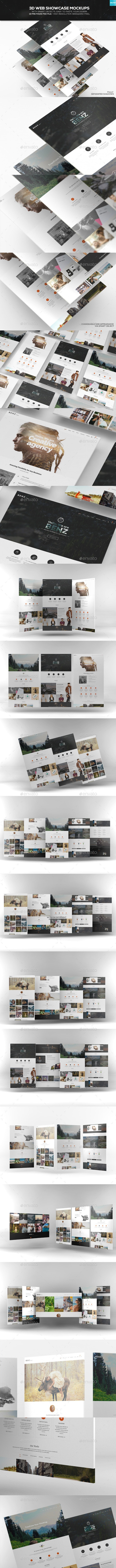 3D Web Showcase Mockups - Website Displays