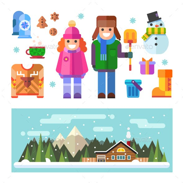 Nice Winter Characters And Stuff Isolated.