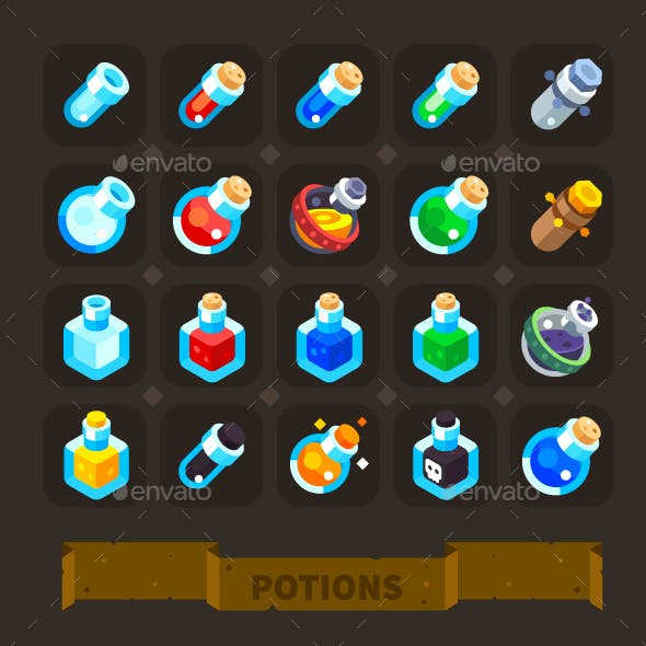 Fantasy Game Icons Set: Potions.