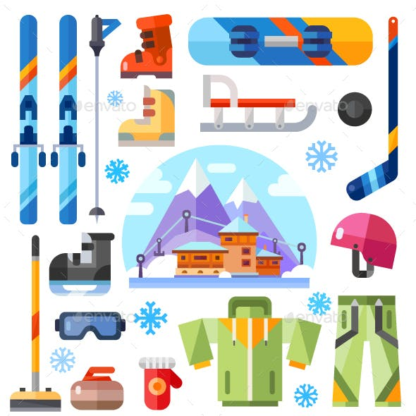 Winter Sports Equipment Set.