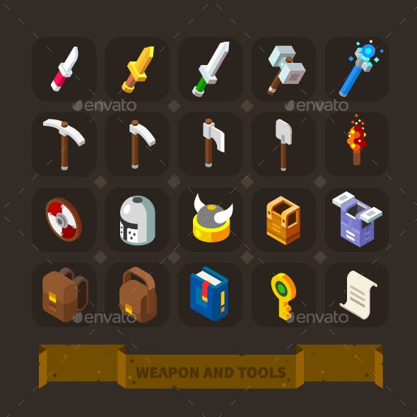 Fantasy Game Icons Set: Weapon, Armor, Tools.