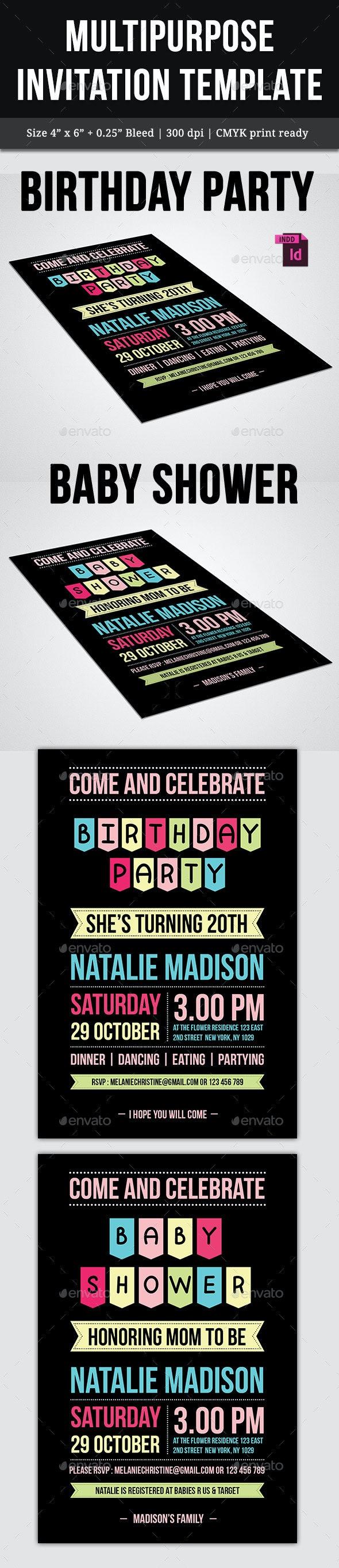 Multipurpose Invitation Template - Cards & Invites Print Templates