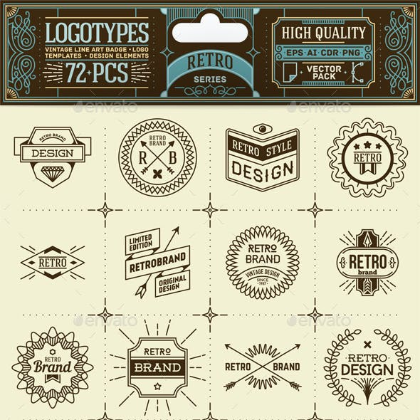 Retro Thin Line Badges and Logos. Vector Pack.