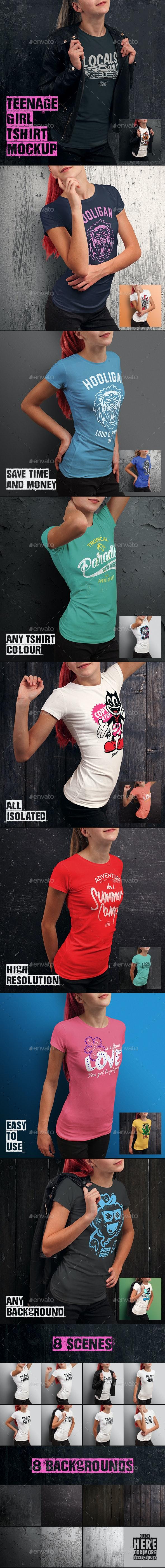 Teenage Girl T-shirt Mock-up - T-shirts Apparel