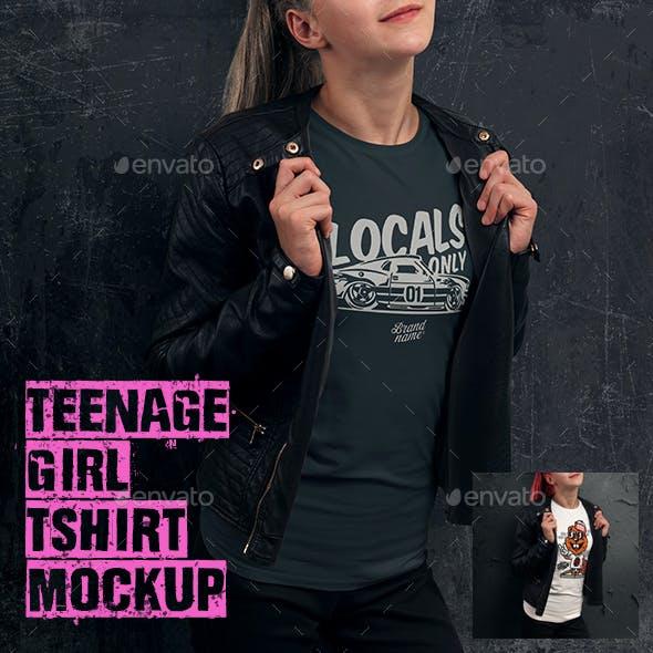 Teenage Girl T-shirt Mock-up