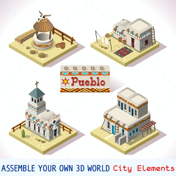 Pueblo Tiles 02 Set Isometric