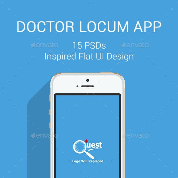 Locum Quest Doctors - Flat Mobile App Design